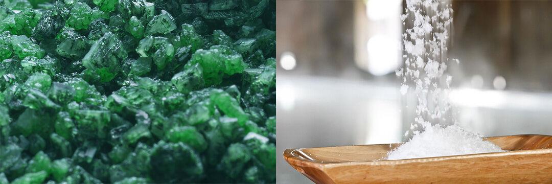Grünes und weißes Badesalz