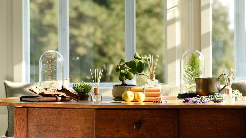 Verschiedene Duftstäbchen stehen auf einem Tisch