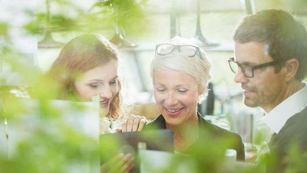 Drei Menschen sehen sich Unterlagen an.