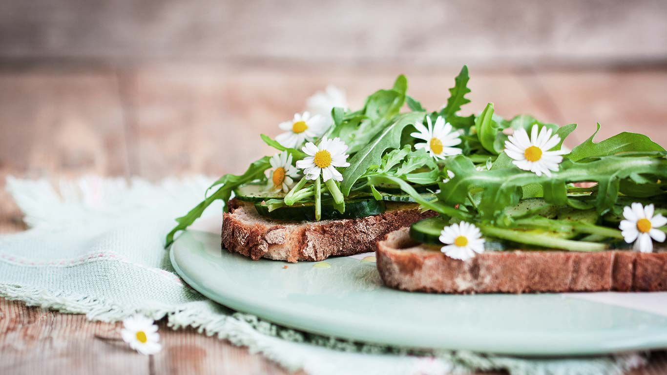 Zwei Scheiben Brot auf einem Teller mit Rucola und Gänseblümchen.