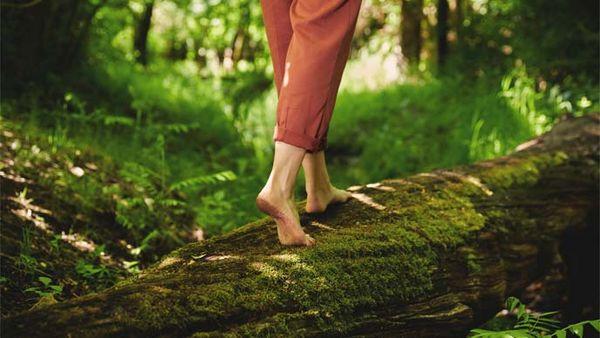 Frau beim Barfußlaufen über einen vermoosten Baumstamm.