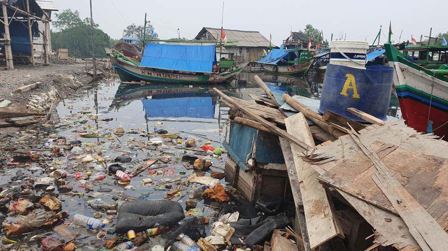 Plastikmüll sammelt sich an den Buchten der Javasee