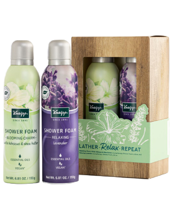 Lather, Relax, Repeat White Hibiscus & Shea Butter and Lavender Shower Foam Gift Set