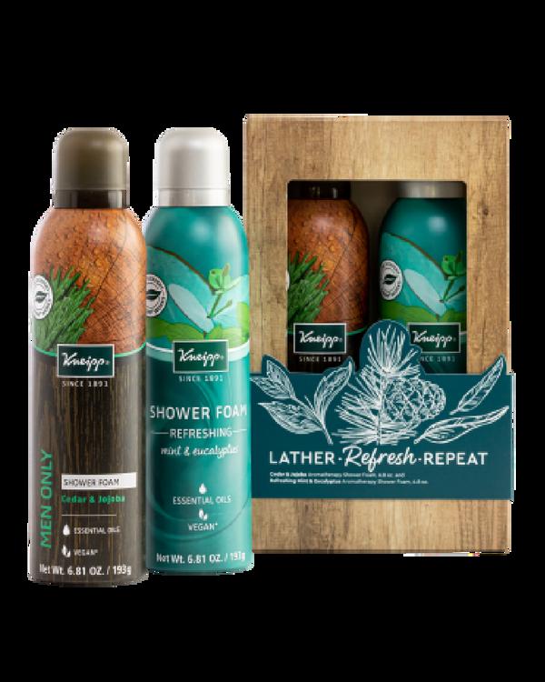 Lather, Refresh, Repeat Cedar & Jojoba and Mint & Eucalyptus Shower Foam Gift Set